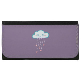 Happy Blue Rain Cloud Raining Pink Hearts Wallet