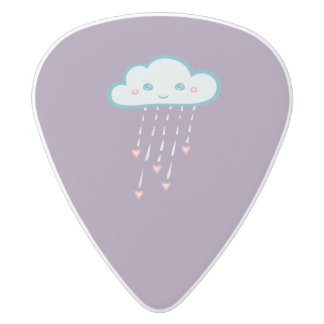 Happy Blue Rain Cloud Raining Pink Hearts White Delrin Guitar Pick