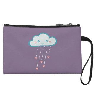 Happy Blue Rain Cloud Raining Pink Hearts Wristlet Purse