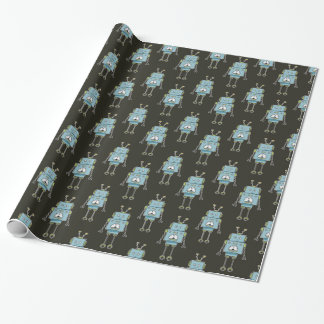 Happy Blue Robot Pattern Wrapping Paper