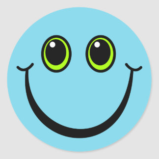 Happy Blue Smiley Face Classic Round Sticker