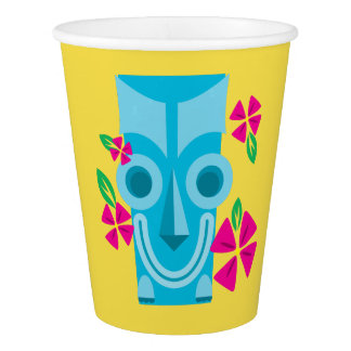 Happy Blue Tiki Mask Paper Party Cup
