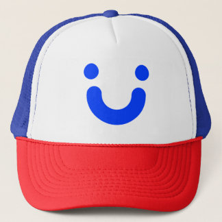 Happy blue trucker hat