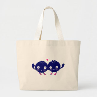 Happy Blueberry BFFs Large Tote Bag