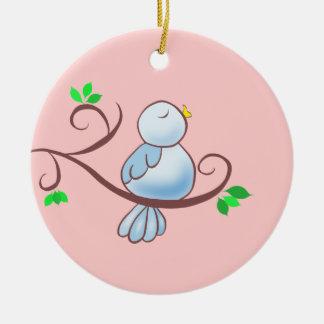 Happy Bluebird Round Ceramic Ornament