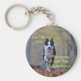 Happy Border Collie dog running and playing Keychain