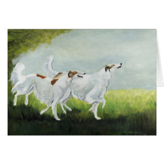 """Happy Borzois"" Dog Art Reproduction Greeting Card"