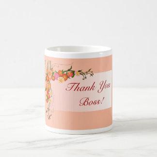 Happy Boss's Day for female boss with flowers Basic White Mug