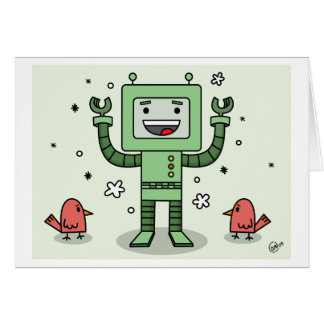 Happy Bot and Friends - Greeting Card