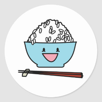 Happy bowl of white rice chopsticks carbs classic round sticker
