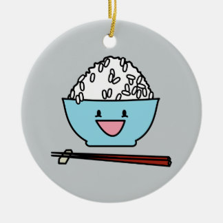 Happy bowl of white rice chopsticks carbs round ceramic ornament