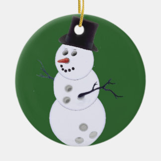 Happy Bowlidays Snowman Round Ceramic Ornament