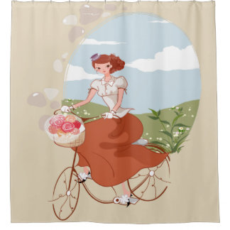 Happy Bride Riding a Bicycle with Basket of Flower