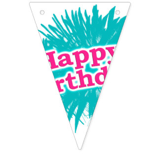 Happy Brithday Typographic Design Bunting Flags