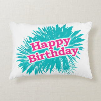 Happy Brithday Typographic Design Decorative Pillow