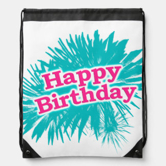 Happy Brithday Typographic Design Drawstring Bag
