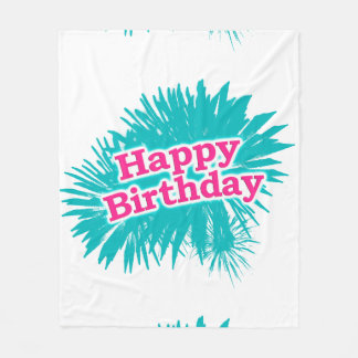 Happy Brithday Typographic Design Fleece Blanket
