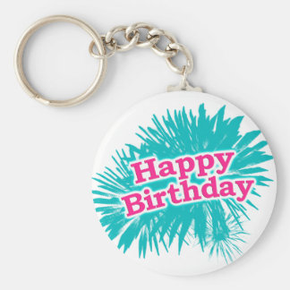 Happy Brithday Typographic Design Keychain