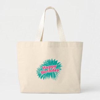 Happy Brithday Typographic Design Large Tote Bag