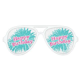 Happy Brithday Typographic Design Party Sunglasses