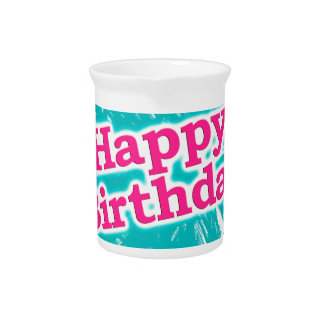 Happy Brithday Typographic Design Pitcher