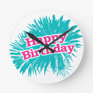 Happy Brithday Typographic Design Round Clock