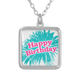 Happy Brithday Typographic Design Silver Plated Necklace
