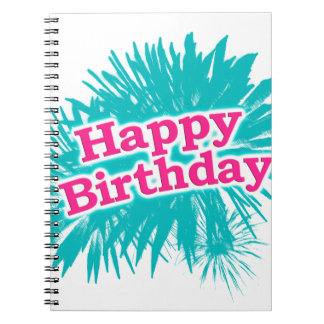 Happy Brithday Typographic Design Spiral Notebook