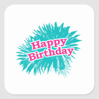 Happy Brithday Typographic Design Square Sticker