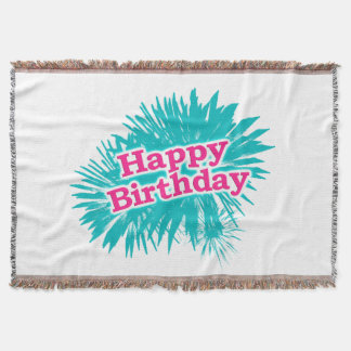 Happy Brithday Typographic Design Throw Blanket