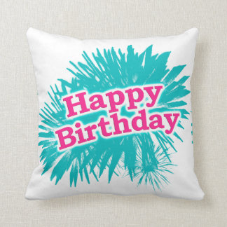 Happy Brithday Typographic Design Throw Pillow