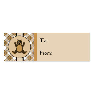 Happy Brown Bear Caramel Plaid Gift Tags Business Card Template