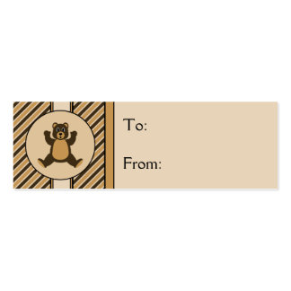 Happy Brown Bear Diagonal Stripes Gift Tags Business Card Template