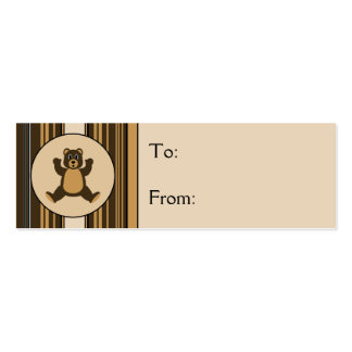 Happy Brown Bear Vertical Stripes Gift Tags Business Card Template