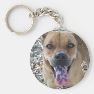 Happy Brown dog with spotted tongue Keychain