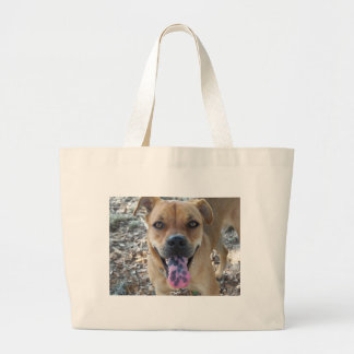 Happy Brown dog with spotted tongue Large Tote Bag