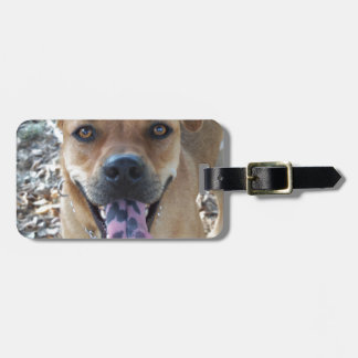 Happy Brown dog with spotted tongue Luggage Tag