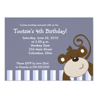 Happy Brown Monkey Fun 5x7 Birthday Card