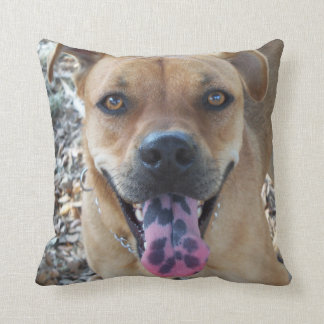 Happy brown pup with a speckled tongue throw pillow