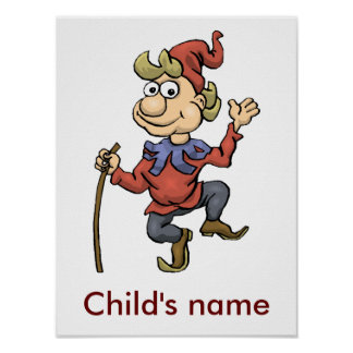 Happy brown, red, gray gnome custom name poster
