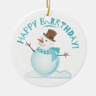 Happy Brrrthday Round Ceramic Ornament