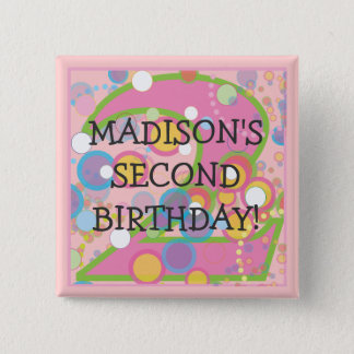 Happy Bubbles Number TWO, First Birthday 2 Inch Square Button
