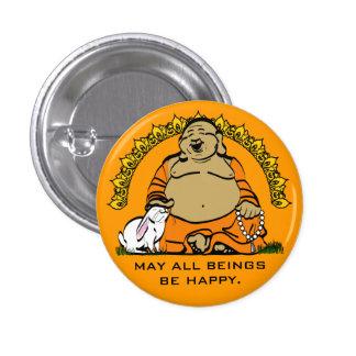 HAPPY BUDDHA 1 INCH ROUND BUTTON