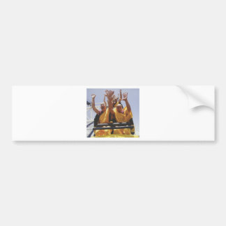 Happy buddhist monks on a roller coaster bumper sticker