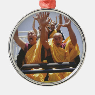 Happy buddhist monks on a roller coaster Silver-Colored round ornament