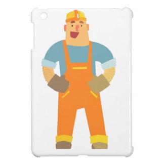 Happy Builder On Construction Site. Graphic Design iPad Mini Cover