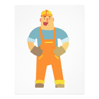 Happy Builder On Construction Site. Graphic Design Letterhead