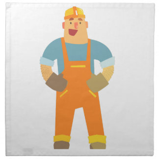 Happy Builder On Construction Site. Graphic Design Napkin