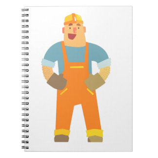Happy Builder On Construction Site. Graphic Design Notebook