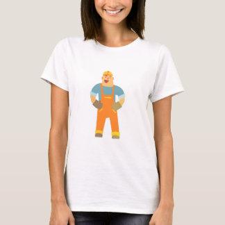 Happy Builder On Construction Site. Graphic Design T-Shirt